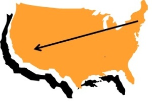 usa map with arrow