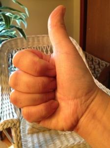 Kat's thumbs up