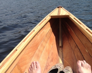 bare feet in the canoe